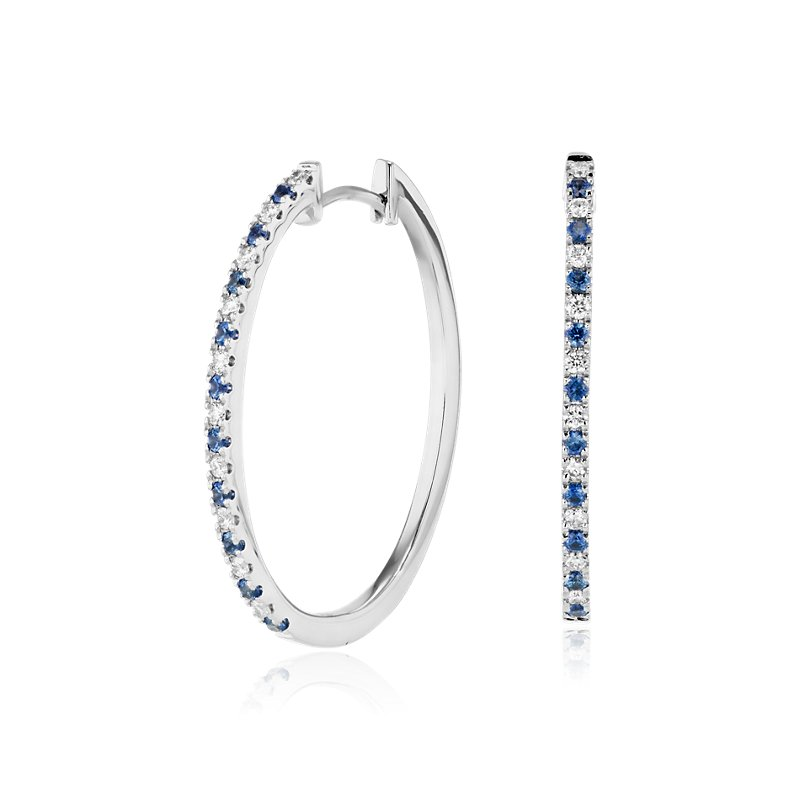 Sapphire and Diamond Oval Hoop Earrings in 14k White Gold (1.4mm)