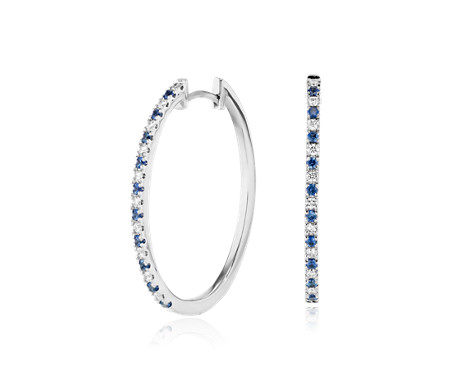 Sapphire and Diamond Oval Hoop Earrings in 14k White Gold