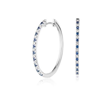 14k 白金 藍寶石與鑽石橢圓圈形耳環