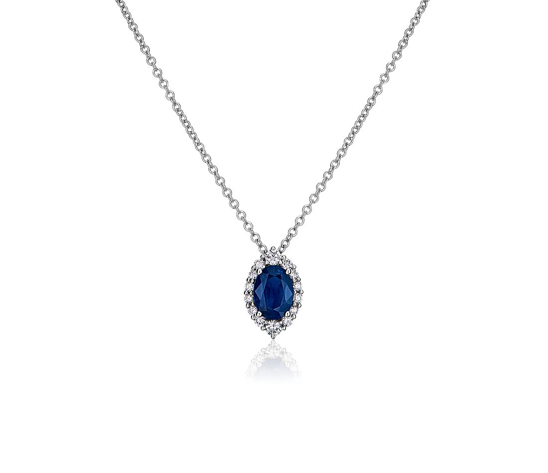 Sapphire and Diamond Pendant in 14k White Gold
