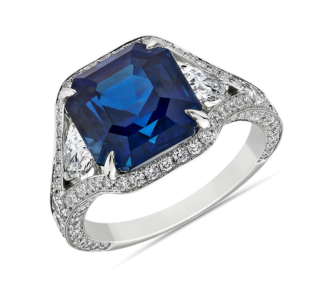 Sapphire and Diamond Ring set in 18k White Gold
