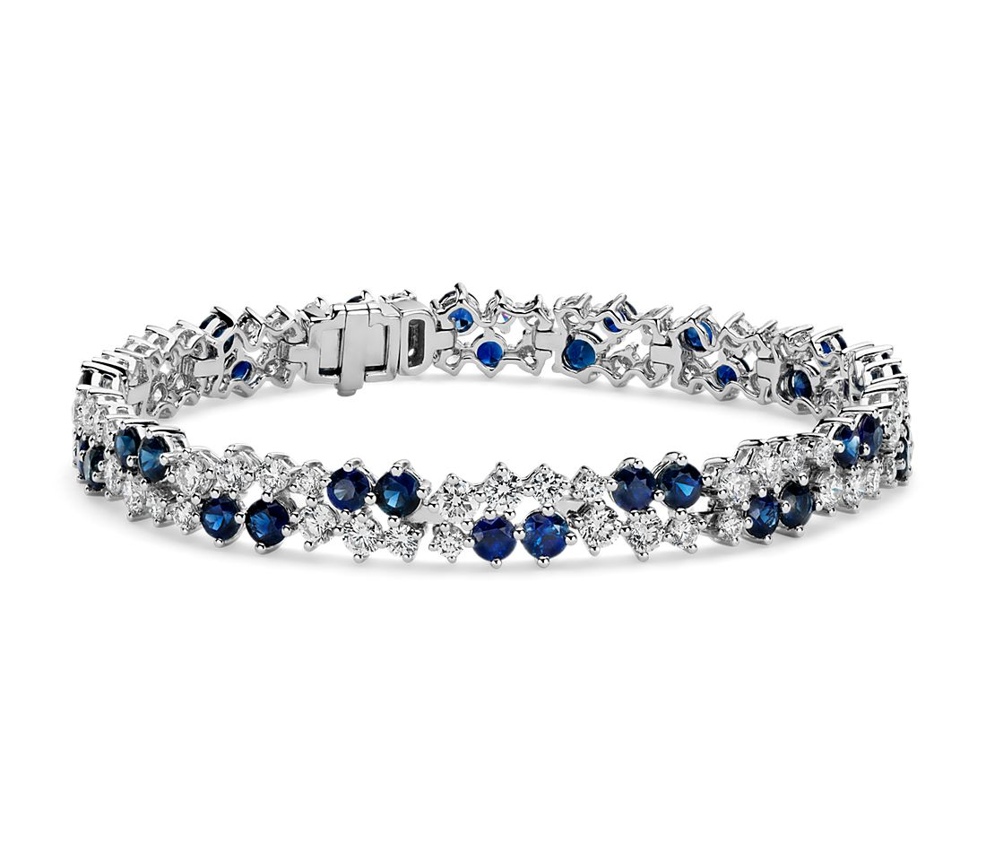 Sapphire and Diamond Scatter Bracelet- 18k White Gold