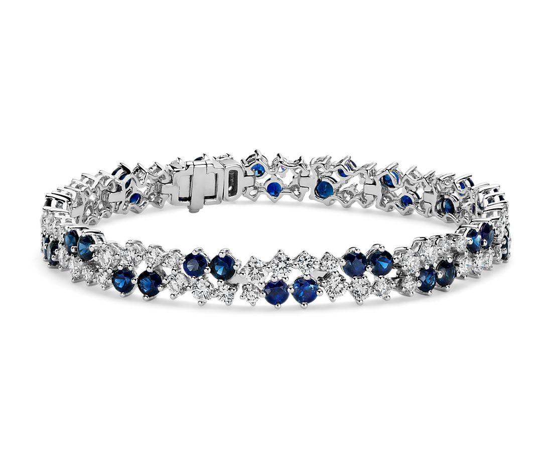 Bracelet diamants et saphirs dispersés- Or blanc 18carats