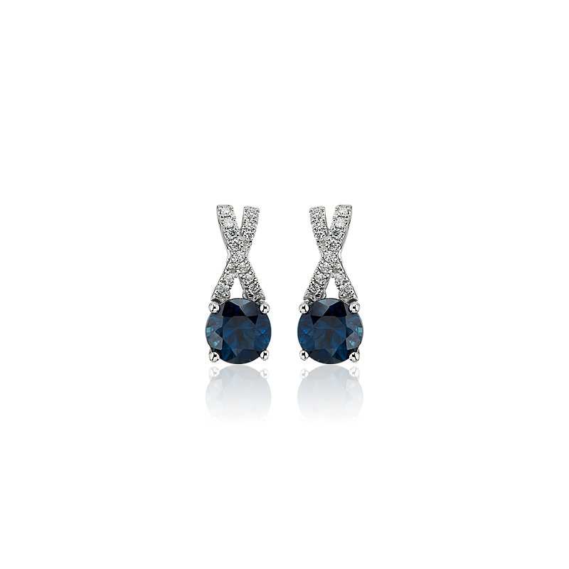 Sapphire and Diamond Twist Earrings in 14k White Gold