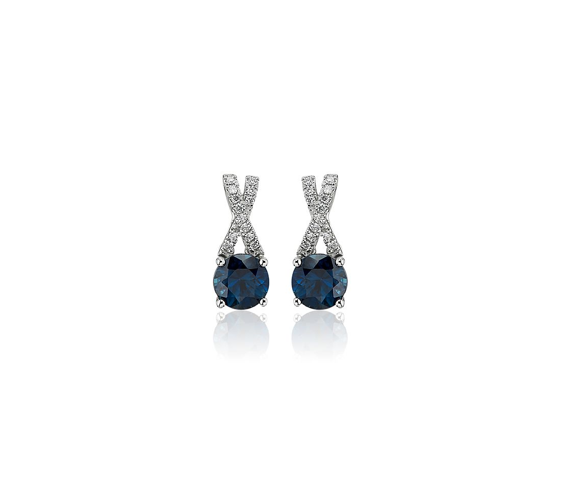 Sapphire and Diamond Twist Studs in 14k White Gold