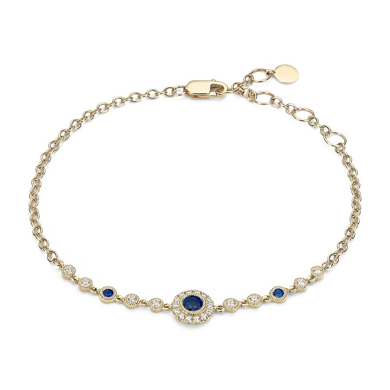 Sapphire and Diamond Vintage Inspired Bracelet in 14k Yellow Gold