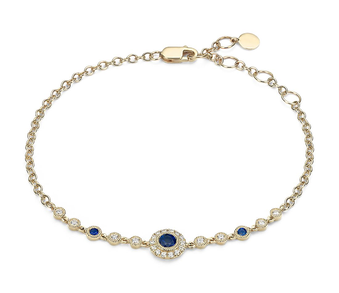 Sapphire and Diamond Vintage Inspired Bracelet in 14k Yellow Gold (3.5mm)