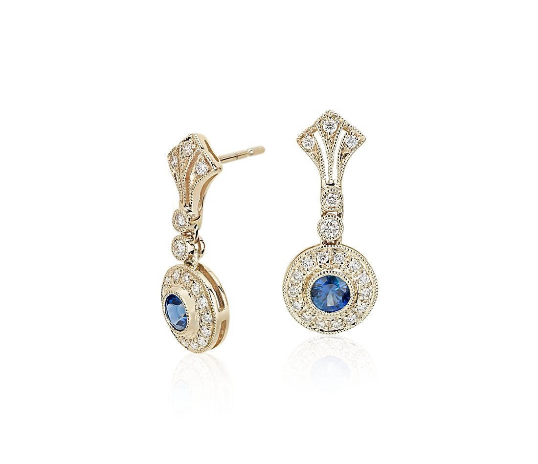 Sapphire and Diamond Vintage-Inspired Drop Earrings in 14k Yellow Gold (3.5mm)