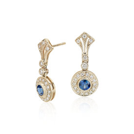 Sapphire and Diamond Vintage-Inspired Earrings in 14k Yellow Gold (3.5mm)