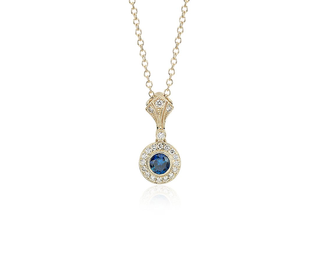 Sapphire and Diamond Vintage-Inspired Pendant in 14k Yellow Gold (4mm)