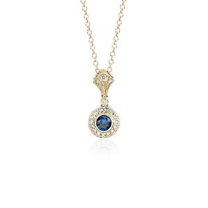 Pendentif diamant et saphir d'inspiration vintage en or jaune 14carats (4mm)