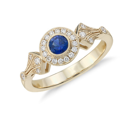 Blue Nile Sapphire and Diamond Vintage Inspired Bracelet in 14k Yellow Gold (3.5mm) UUtAYPDYnL