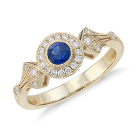 Sapphire and Diamond Vintage-Inspired Ring in 14k Yellow Gold (4mm)