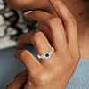 14k 黃金 藍寶石與鑽石復古風格戒指<br>( 4毫米)