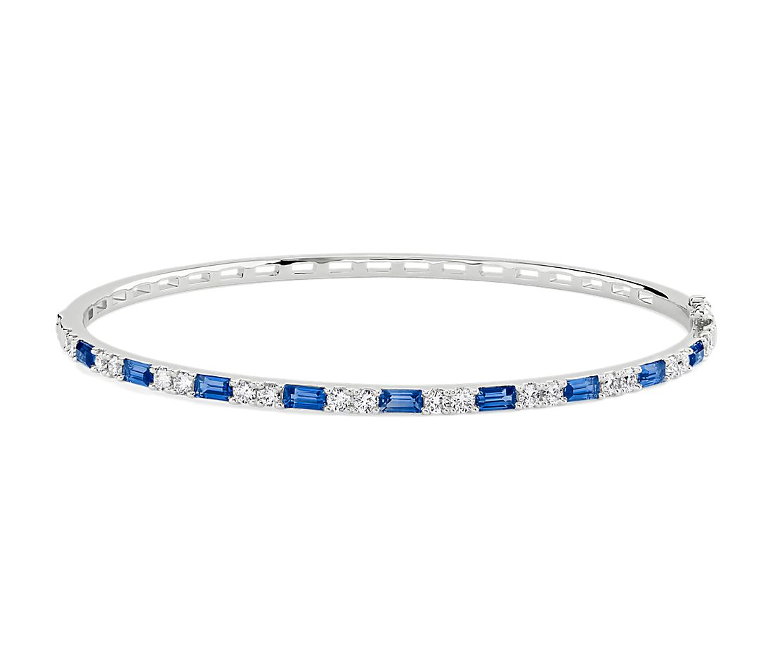 Sapphire Baguette and Round Diamond Alternating Hinged Bangle in 14k White Gold