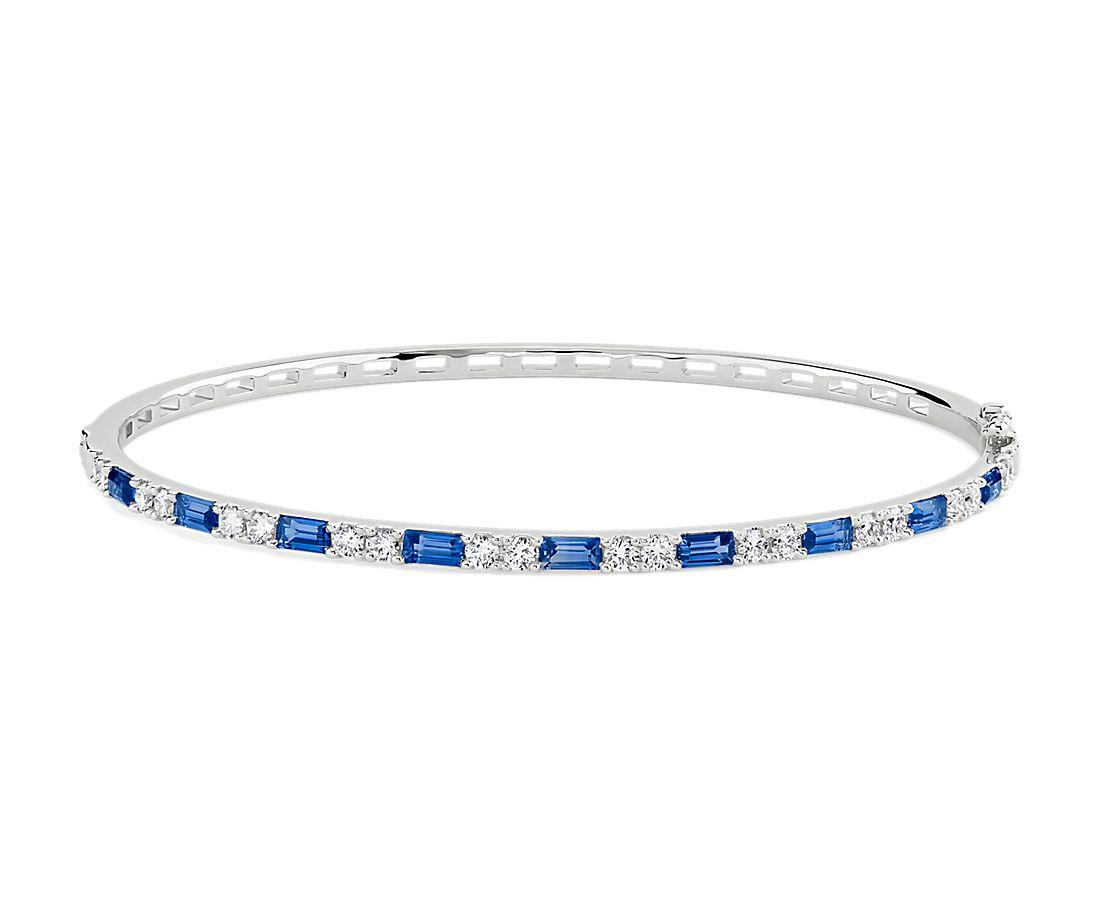 14k 白金蓝宝石长方形和圆形钻石交错铰链手镯