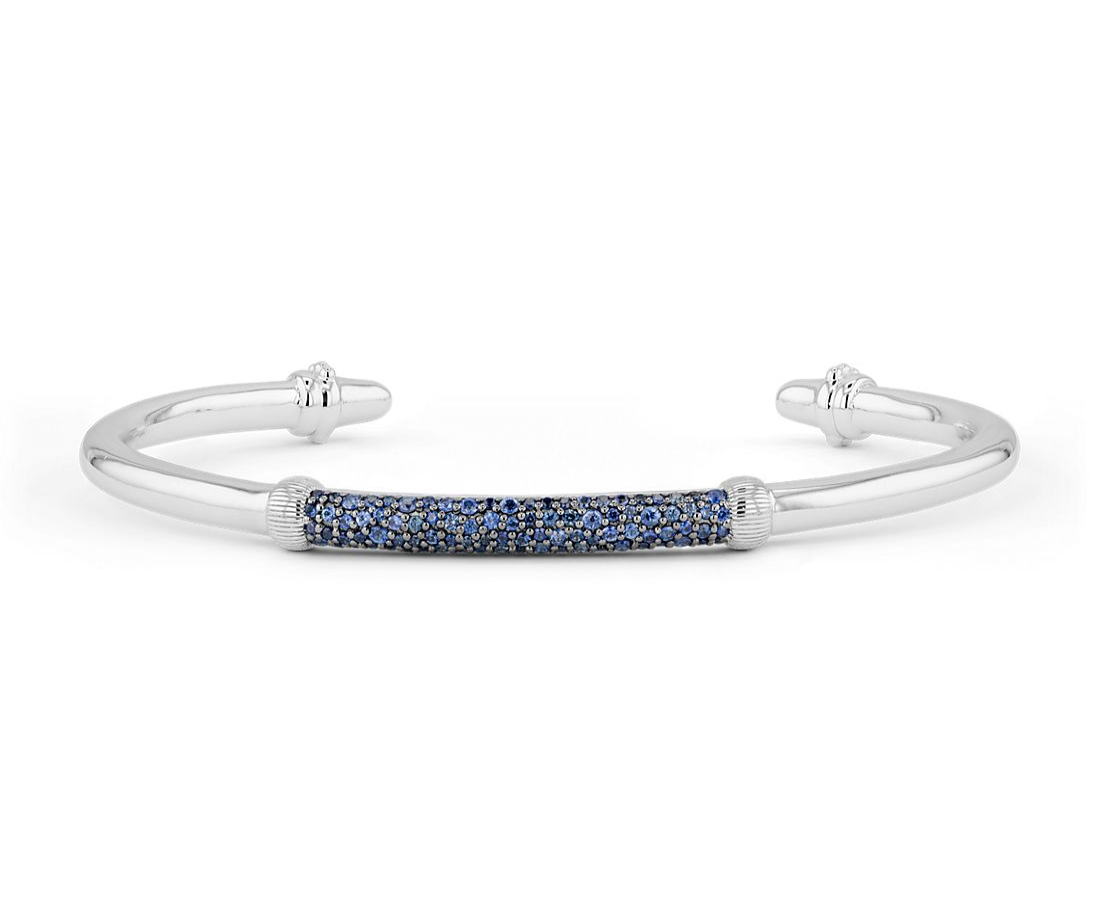 925 純銀藍寶石交叉條紋開口手鏈