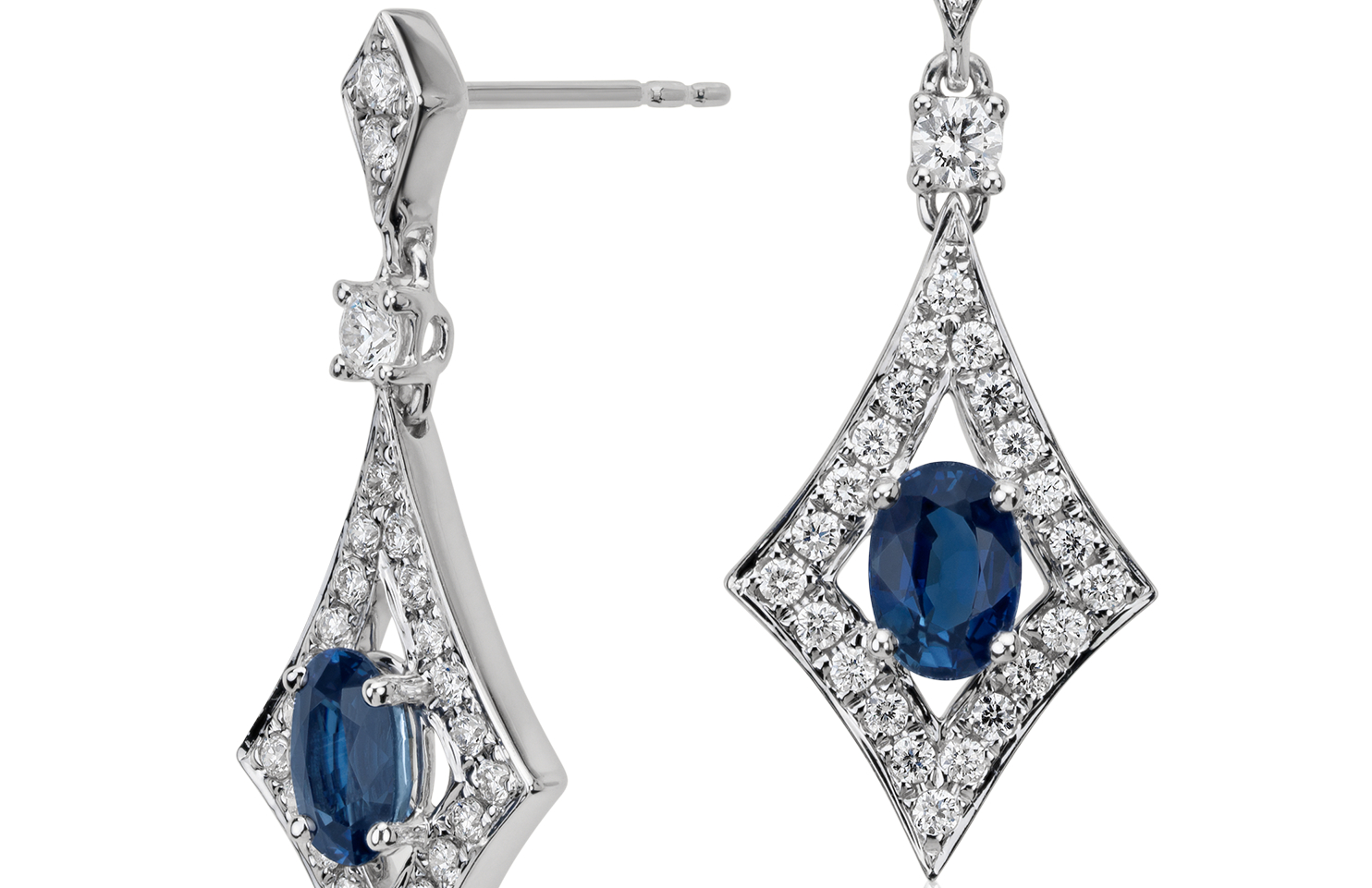 Sapphire and Diamond Drop Earrings in 18k White Gold (6x4mm)