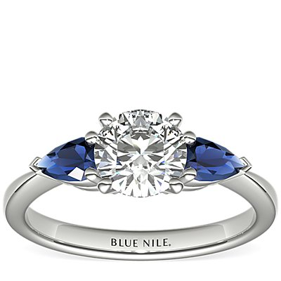 Classic Pear Shaped Sapphire Engagement Ring in 18k White Gold