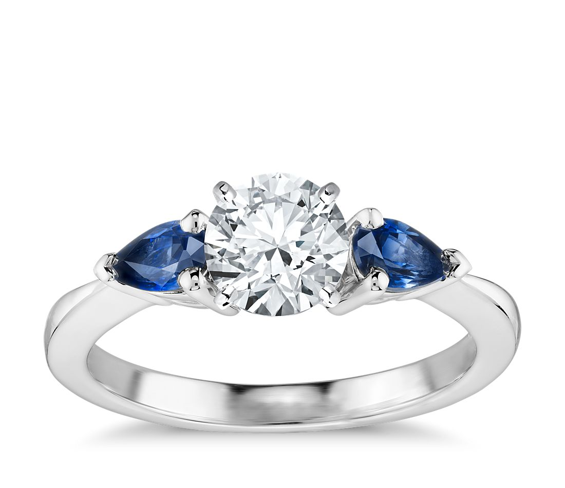 classic pear shaped sapphire engagement ring in 18k white gold - Sapphire Wedding Rings