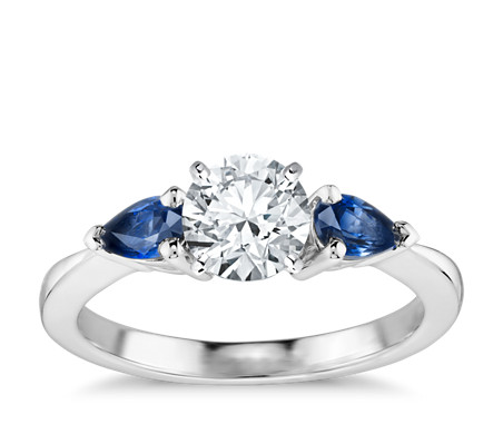 ring diamond sapphire alternating band blue engagement wedding