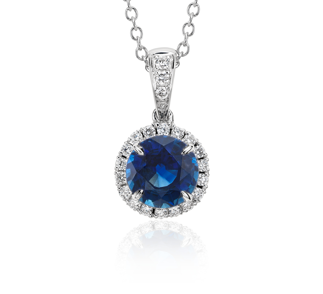 Pendentif en diamants sertis micro-pavé et saphir bleu en or blanc 18carats (6mm)