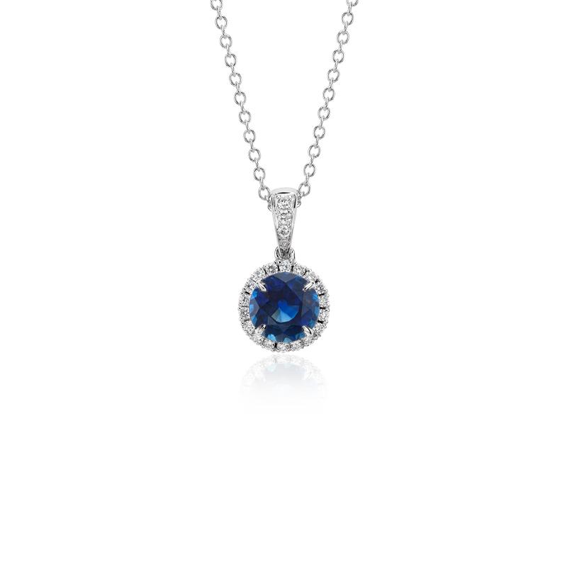 Sapphire and Micropavé Diamond Pendant in 18k White Gold (