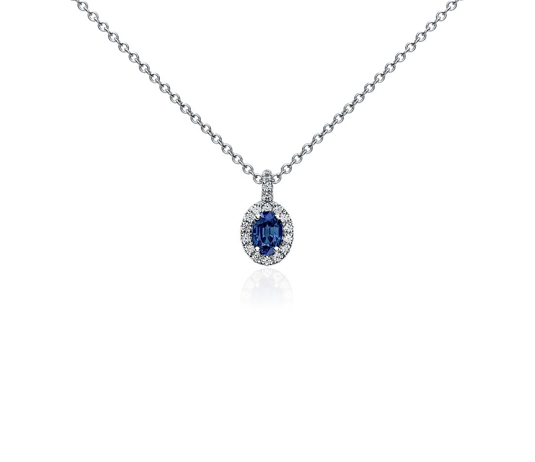 Oval Sapphire and Pavé Diamond Pendant in 18k White Gold (7x5mm)