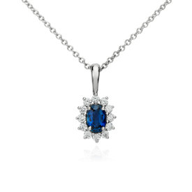 Pendentif saphir et diamant en or blanc 18carats (6x4mm)