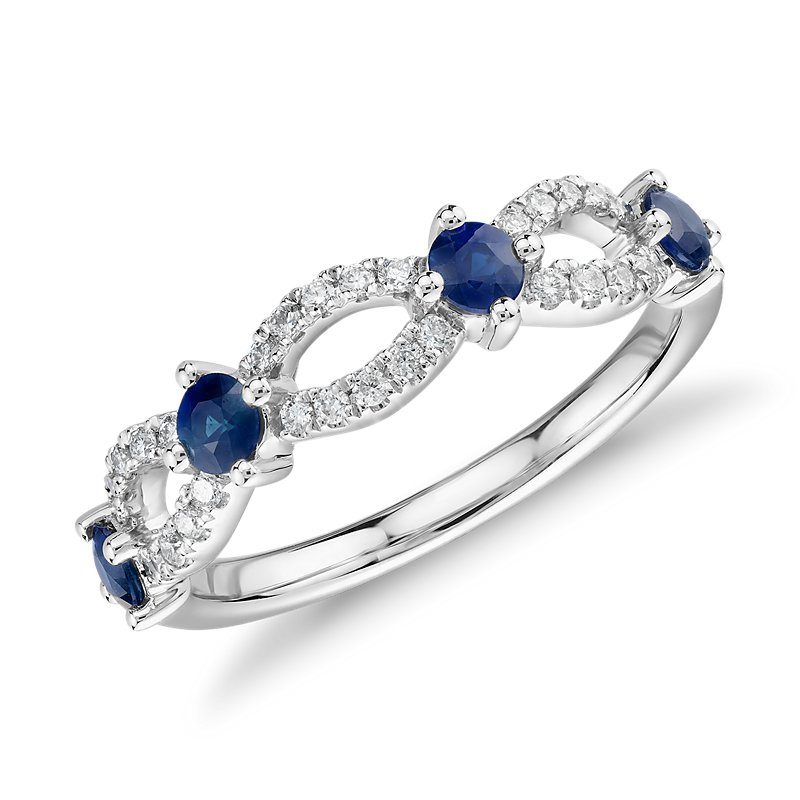 Sapphire and Diamond Ellipse Anniversary Ring in 14k White Gold (