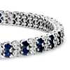 Sapphire and Diamond Double Row Bracelet in 14k White Gold (2x2.4mm)