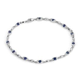 Bracelet diamant et saphir bleu en or blanc 14carats (2 - 2,4mm)