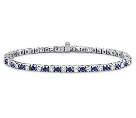 Sapphire and Diamond Bracelet in 18k White Gold 1 1 2 ct tw