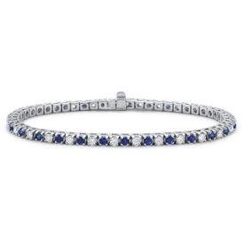 Bracelet diamant et saphir bleu en or blanc 18carats (1 1/2carats, poids total)