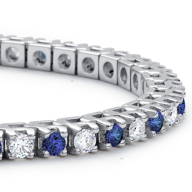 18k 白金蓝宝石钻石手链(1 1/2 克拉总重量)