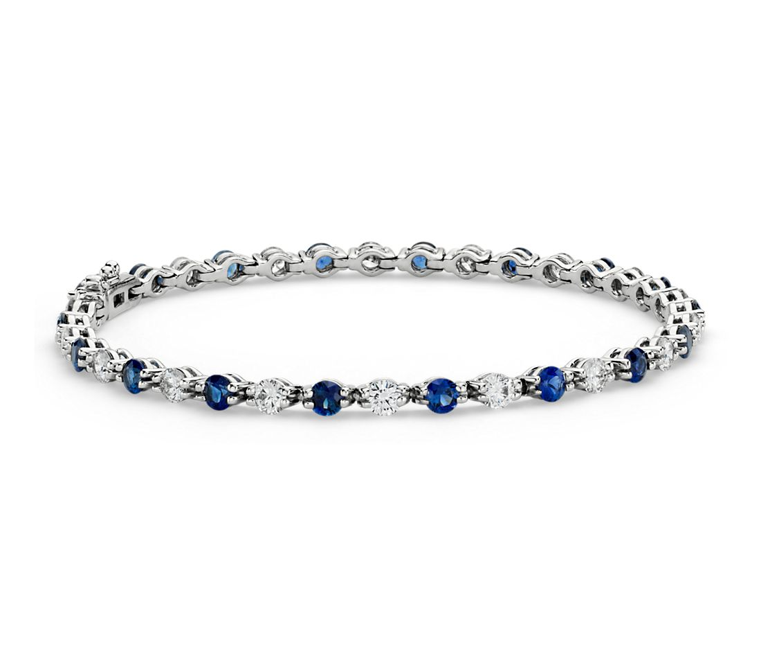 Sapphire and Diamond Eternity Bracelet in 18k White Gold (2 1/3 ct. tw.)
