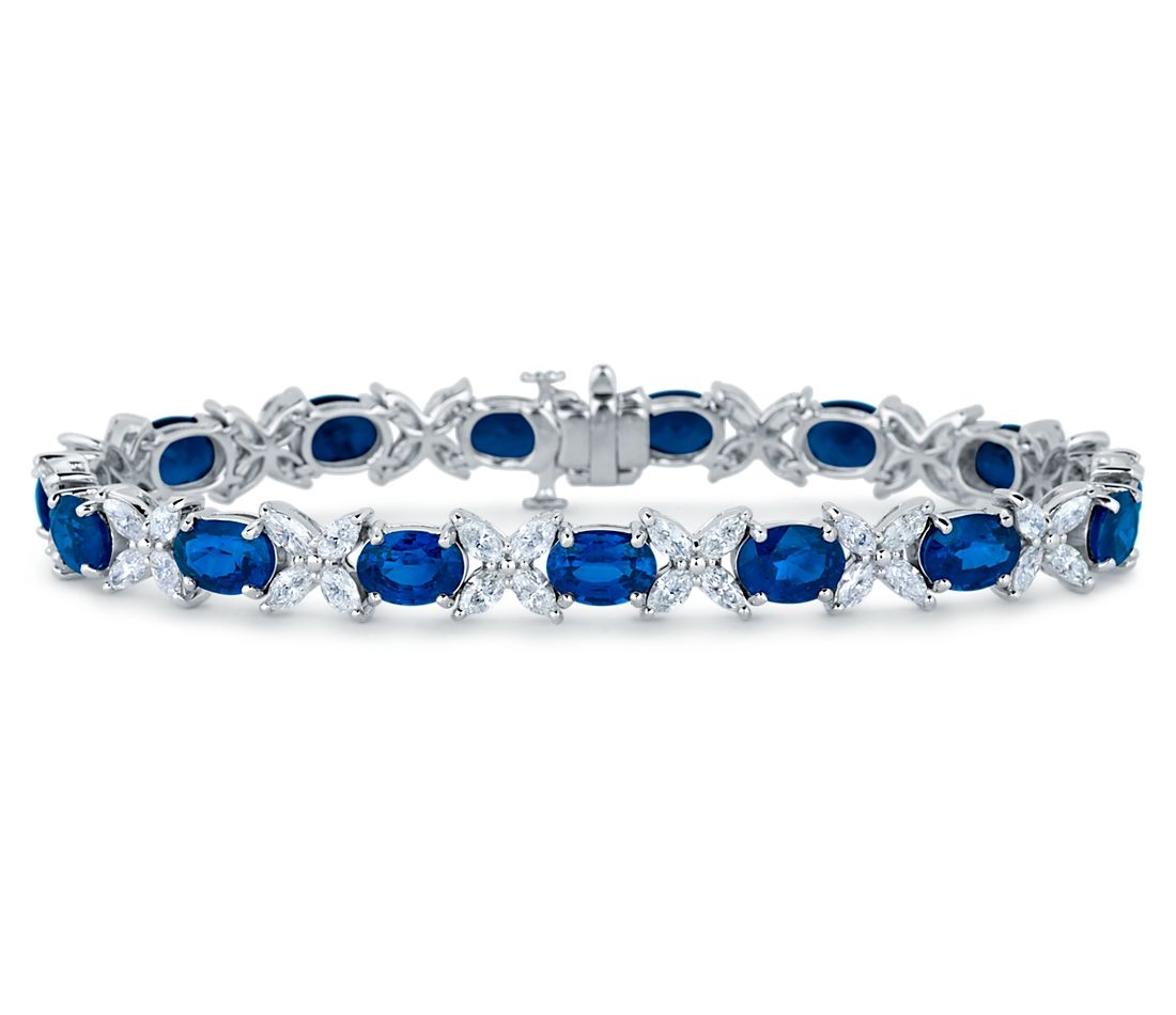 Shire And Marquise Diamond Bracelet In 18k White Gold 6x5mm