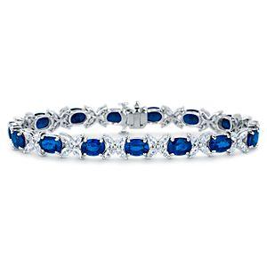 18k 白金蓝宝石和榄尖形切割钻石手链(6x5毫米)