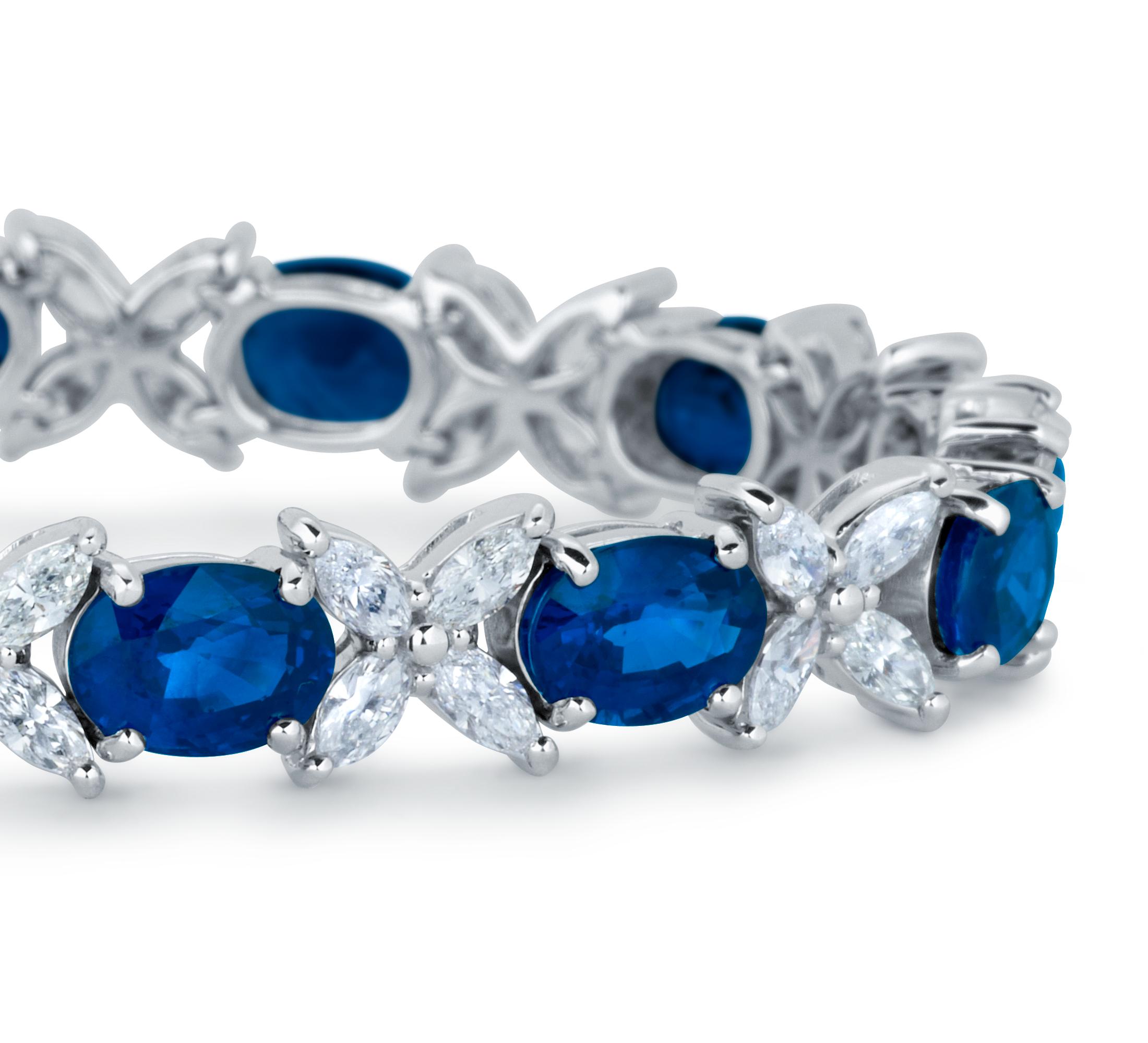 Bracelet diamant marquise et saphir en or blanc 18carats (6x5mm)