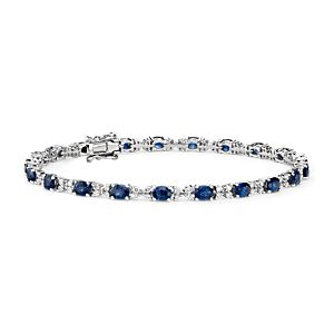 Sapphire and Diamond Bracelet in 14k White Gold (4x3mm)