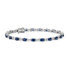 14k 白金 藍寶石鑽石手鍊( 4x3毫米)