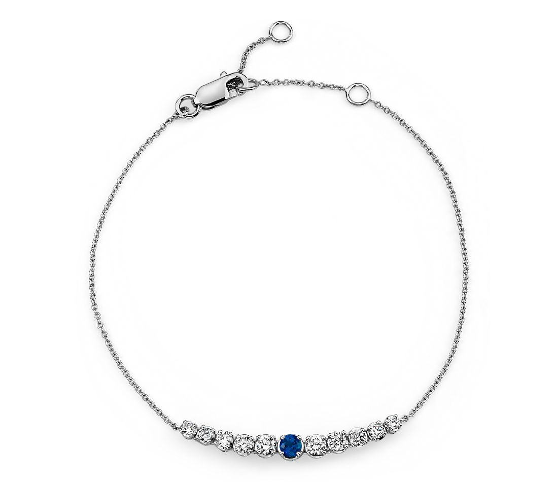 Sapphire and Diamond Graduated Curve Bracelet in 14k White Gold (2.9mm)