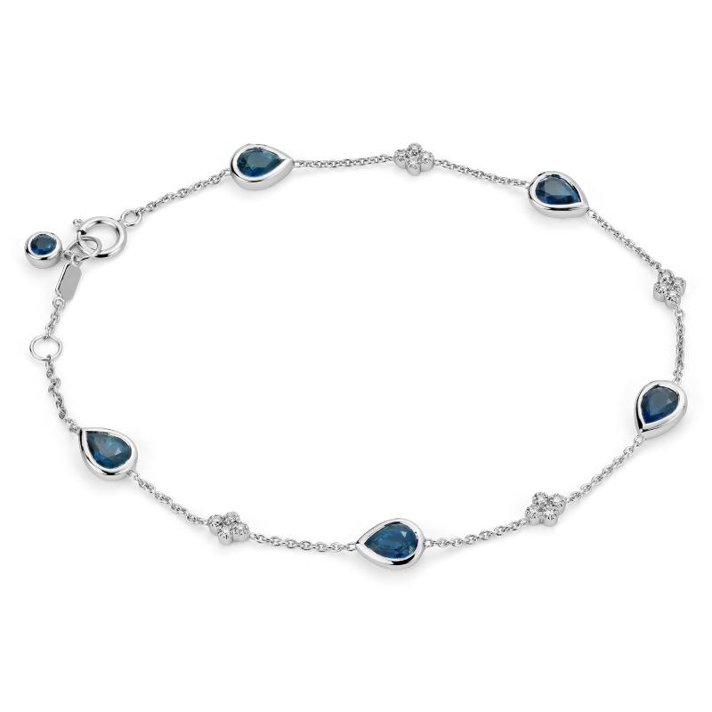 Sapphire and Diamond Bezel Bracelet in 18k White Gold (5x4mm)