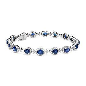 Bracelet halo en diamants et saphirs en or blanc 18carats