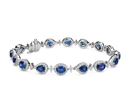 Bracelet halo en diamants et saphirs en or blanc 18 carats