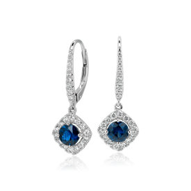 Sapphire and Diamond Cushion Drop Earrings in 14k White Gold (Limited Edition)