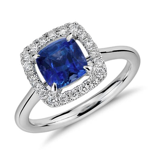 Floating Sapphire And Diamond Cushion Cut Halo Ring In 14k