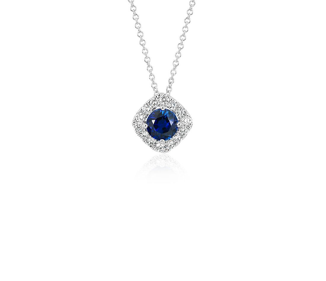 Sapphire and Diamond Cushion Halo Pendant in 14k White Gold (Limited Edition)