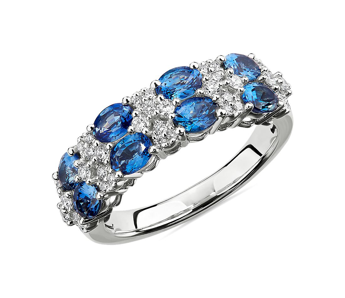 Oval Sapphire & Round Diamond Double Row Ring in 14k White Gold