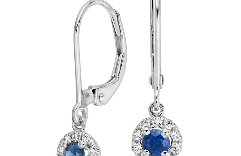 Aretes colgantes de diamantes y zafiros en oro blanco de 14 k (3mm)